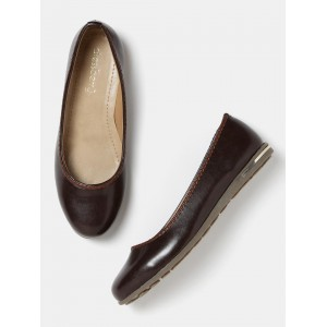 DressBerry  Brown Synthetic Solid Slip-On Formal Shoes