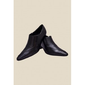 Enzo Cardini Black Synthetic Slip-On Formal Shoes