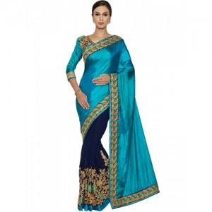 Indian Women By Bahubali blue georgette half & half saree
