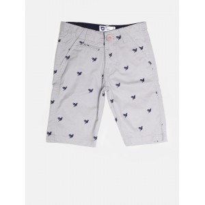 612 league Boys Grey Printed 3/4th Chino Shorts