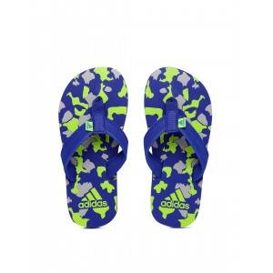 Adidas Boys Blue & Grey Printed Shingle Flip-Flops