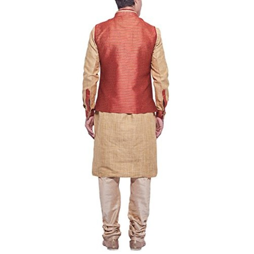 Manyavar Men's Beige & Orange Cotton Kurta Pyjama With Waist Coat