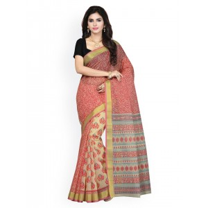 Saree Swarg Beige & Red Printed Saree