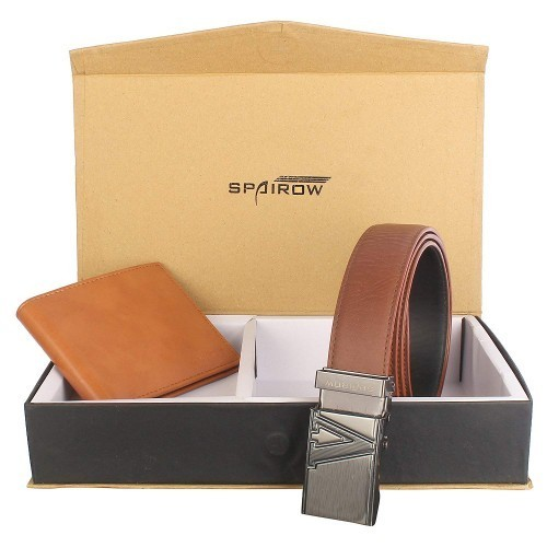 Spairow Brown Wallet & Belt Combo -W201BRAZIL1