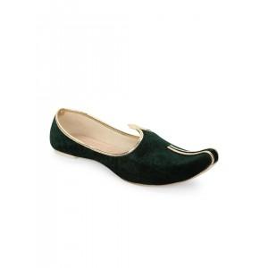 SOJANYA Green Velvet Slip-On Ethnic  Mojaris