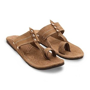 Brown Synthetic Leather Slip-On Kolhapuri Chappals