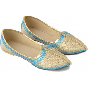 Sapphire Blue  Golden Slip-On  Wedding Jutis