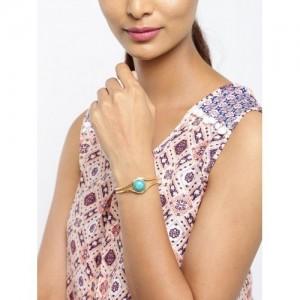 Tipsyfly Gold-Toned & Green Phiroza Cuff Bracelet