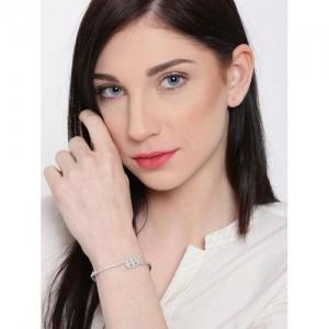 Zaveri Pearls Silver CZ Stone-Studded Bracelet