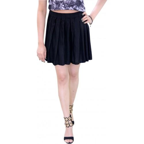 CrazeVilla Solid Women Pleated Black Skirt