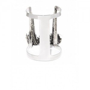 DressBerry Silver Cuff Bracelet With Chain Detail