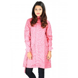 Versalis Pink Polka Dot Printed Raincoat