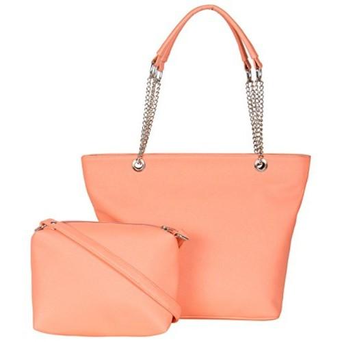 ADISA Peach Leather Handbag With Sling Bag