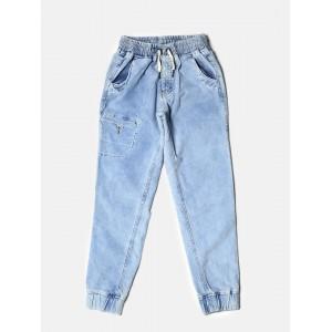 Gini and Jony Sky Blue Washed Corduroy Cuffed Trousers