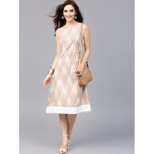 943c918694 Buy AKS Beige Cotton Ikat Pattern Midi A-Line Dress online | Looksgud.in