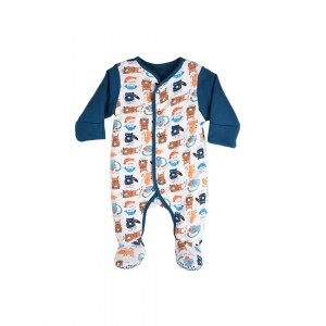 mothercare Infants White & Teal Blue Printed Sleepsuit
