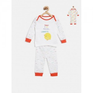 mothercare Kids Pack of 2 White Printed Night Suits