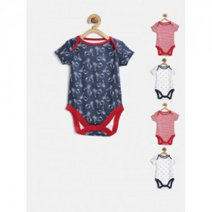 mothercare Multicolor Cotton Pack of 5 Printed Bodysuits