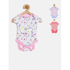 mothercare Kids Pack of 3 Printed Bodysuits