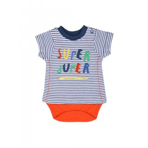 mothercare Boys White & Orange Striped Bodysuit