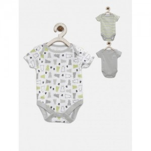 FS Mini Klub Infant Gray & White Cotton Printed Pack of 3 Bodysuits