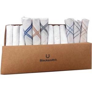 Blacksmith 100% Mercerized Cotton Solid White Handkerchief