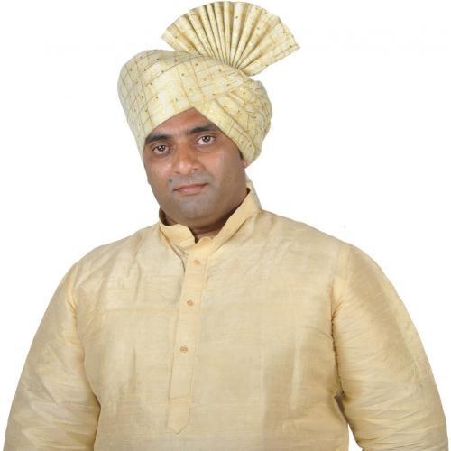 eKolhapuri Jari Tickli Cream Kolhapuri Pheta (Turban). Embellished Pagri