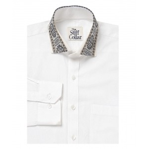 The Stiff Collar White Ikkat Party Wear Shirts