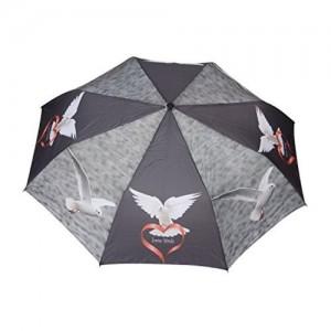 FabSeasons FabSeasons Grey, Bird Digital Printed, 3 Fold Fancy Automatic Umbrella for all Weather