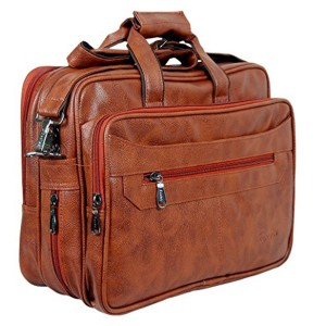 25369d378bfe Easies Easies Synthetic Leather 15 inches Half Expandable Tan Color  Executive Office Bag