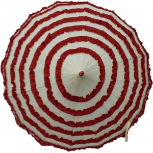 DesiCult Pagoda Lacy Stripes Red/Off-White Umbrella