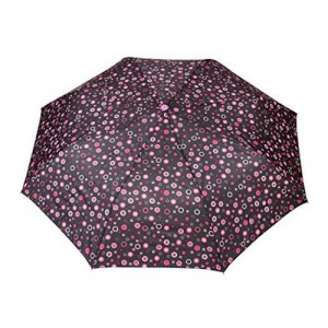 FabSeasons FabSeasons Black/pink, Geometric Printed, 3 Fold Fancy Automatic Umbrella for all Weather