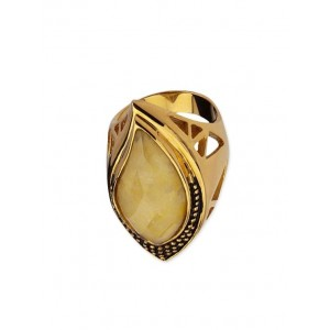 Inox Jewelry gold stainless steel, crystal ring