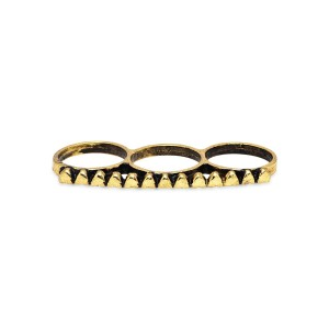 Trinketbag A chain of hearts three finger ring gold