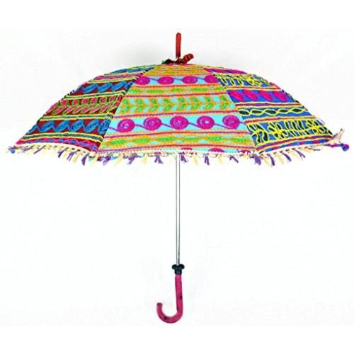 135641b16eee2 ... Lalhaveli Elegant Embroidered Work Design Cotton Hand Open Small  Umbrella 24 x 28 Inches ...