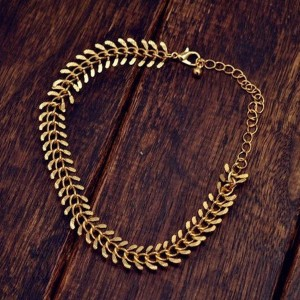 Blingg Blingg Golden Alloy Chain Link Tribal Anklet
