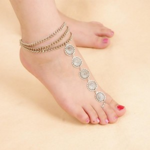 Blingg Blingg Silver Five Circle Foot Chain