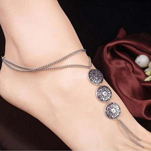Blingg Blingg Silver Three Circle Foot Chain