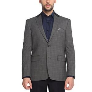 Suitltd Gray Polyester Viscose Tailored Fit Blazer