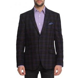 suitltd navy blue cotton checkered casual blazer