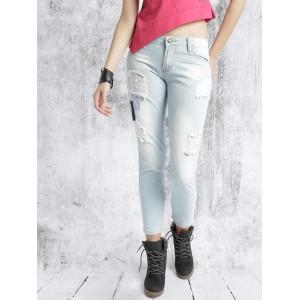 RDSTR Light Blue Slim Fit Mid Rise Mildly Distressed Jeans