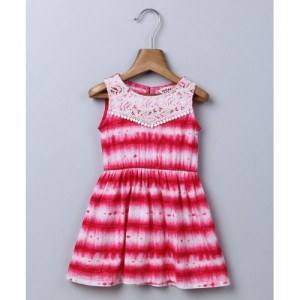 Beebay Red Striped Printed Sleeveless Dress