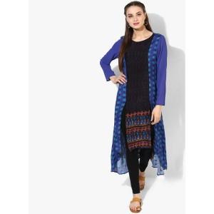 Global Desi Blue Printed Polyester Kurta