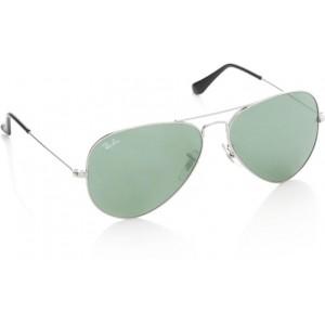 Ray Ban UV Protection Green Aviator Sunglasses