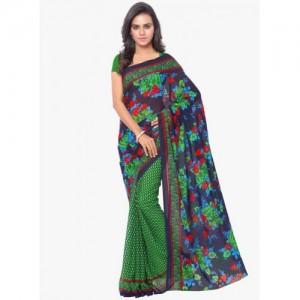 Triveni Sarees Green Georgette Casual Printed Saree