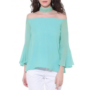 Red couture Sky blue embellished georgette top