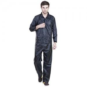 Versalis Black Solid Polyester Raincoat