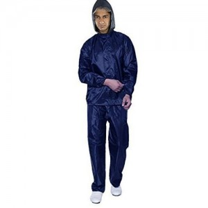 Zacharias Blue Solid Polyester Hooded Rainsuit
