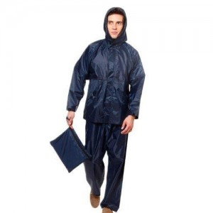 Zacharias Navy Blue Solid Hooded Rainsuit