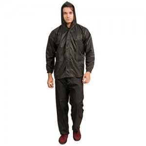 Zacharias Black Solid Hooded Rainsuit